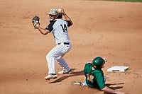 UCF Knights second baseman Matthew Mika (14) throws to first base as Jonathan Crimmin (16) slides in during a game against the Siena Saints on February 17, 2019 at John Euliano Park in Orlando, Florida.  UCF defeated Siena 7-1.  (Mike Janes/Four Seam Images)