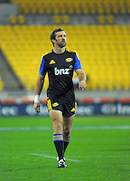 Hurricanes captain Conrad Smith warms up before the Super Rugby match between the Hurricanes and Sharks at Westpac Stadium, Wellington, New Zealand on Saturday, 9 May 2015. Photo: Dave Lintott / lintottphoto.co.nz