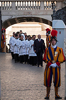Vatican City, October 13, 2019. Priets arrive in Saint Peter Square to attend a canonization Mass in St. Peter's Square at the Vatican. Pope Francis on Sunday canonized Cardinal John Henry Newman, the 19th-century Anglican convert who became an immensely influential, unifying figure in both the Anglican and Catholic churches. Francis presided over Mass on Sunday in a packed St. Peter's Square to declare Newman and four women saints. (Antonello Nusca/BuenavistaPhoto)
