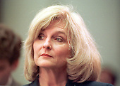 Julie Hiatt Steele, the woman from Richmond, Virginia who was asked by Kathleen Willey to lie about an alleged groping incident with President Clinton, testifies before the United States House Judiciary Subcommittee on Commercial and Administrative Law in Washington, DC on September 23, 1999.<br /> Credit: Ron Sachs / CNP