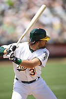 OAKLAND, CA - April 28:  Mike Piazza of the Oakland Athletics bats during the game against the Tampa Bay Devil Rays at the McAfee Coliseum in Oakland, California on April 28, 2007.  The Athletics defeated the Devil Rays 12-5.  Photo by Brad Mangin