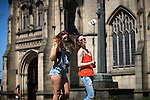 © Joel Goodman - 07973 332324 . 19/07/2016 . Manchester , UK . Two women pose for selfies in Cathedral Gardens . Sunshine in Manchester City Centre on the hottest day of the year so far . Photo credit : Joel Goodman