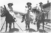 Perhaps a family portrait of a man and a woman mounted on horses with their daughter riding a burro.<br /> D&amp;RG  La Veta Pass (Later Fir), CO
