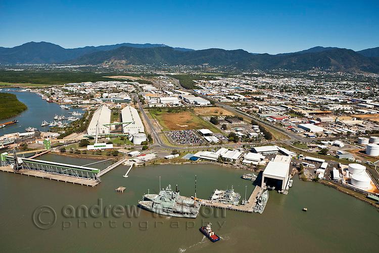 Aerial view of HMAS Cairns Navy Base and Sugar Terminal.  Cairns, Queensland, Australia