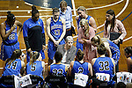 SIOUX FALLS MARCH 23:  Bentley coach Barbara Stevens talks to her team during a timeout during their 2016 NCAA Women's DII Elite 8 Basketball Championship semifinal game against Lubbock Christian Wednesday night at the Sanford Pentagon in Sioux Falls, S.D. (Photo by Dick Carlson/Inertia)