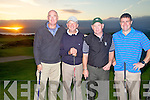 Second place finishers at the Charlie Chaplin Am-Am in Waterville pictured here on the ninth hole after recording a second day score of 91 were l-r; Aidan McAuliffe, Donal Brosnan Michael O'Sullivan and Brendan O'Shea.