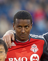Toronto FC defender Danleigh Borman (25). In a Major League Soccer (MLS) match, the New England Revolution tied Toronto FC, 0-0, at Gillette Stadium on June 15, 2011.