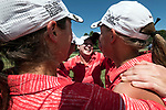 HOUSTON, TX - MAY 12: Nikki Isaacson and her teammates from Rhodes College celebrate their team victory during the Division III Women's Golf Championship held at Bay Oaks Country Club on May 12, 2017 in Houston, Texas. (Photo by Rudy Gonzalez/NCAA Photos/NCAA Photos via Getty Images)