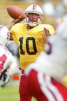 Chris Lewis completes a 2 minute drill session during the Spring Game on April 26, 2003 at Stanford Stadium.<br />