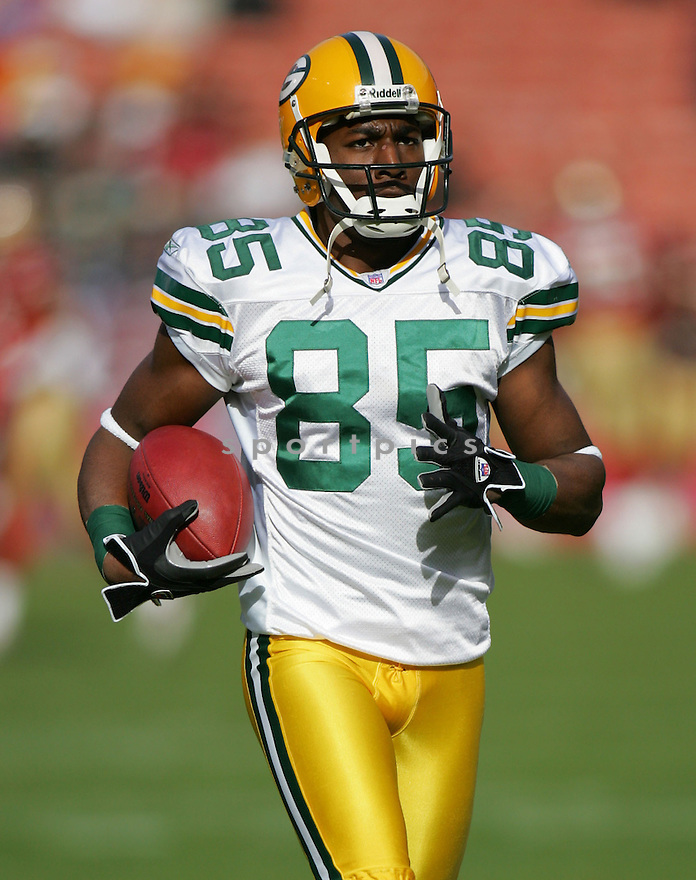 GREG JENNINGS, of the Green Bay Packers, in action against the San Francisco 49er on December 10, 2006 in San Francisco...Green Bay win 30-19..ROB HOLT/ SPORTPICS