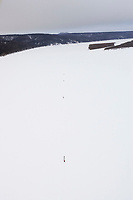 Aerial of Team on Yukon River near Eagle Is Chkpt 2005 Iditarod