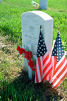 Fort Snelling Cemetery soldiers grave with flags and flowers. Ft Snelling State Park Minnesota USA