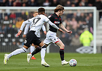 Bolton Wanderers' Luca Connell competing with Derby County's Jayden Bogle <br /> <br /> Photographer Andrew Kearns/CameraSport<br /> <br /> The EFL Sky Bet Championship - Derby County v Bolton Wanderers - Saturday 13th April 2019 - Pride Park - Derby<br /> <br /> World Copyright &copy; 2019 CameraSport. All rights reserved. 43 Linden Ave. Countesthorpe. Leicester. England. LE8 5PG - Tel: +44 (0) 116 277 4147 - admin@camerasport.com - www.camerasport.com