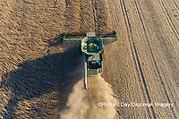 63801-13302 Harvesting soybeans in fall-aerial Marion Co. IL