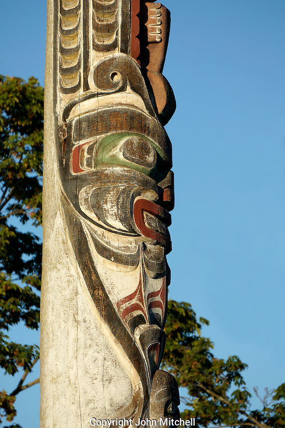 Close up of figure carved on the Centennial Totem Pole in Vanier Park, Kitsilano, Vancouver, BC, Canada