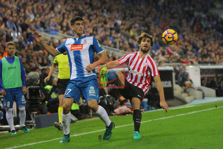 League Santander 2016/2017. Game: 11.<br /> RCD Espanyol vs Athletic Club: 0-0.<br /> Gerard Moreno vs Yeray Alvarez.