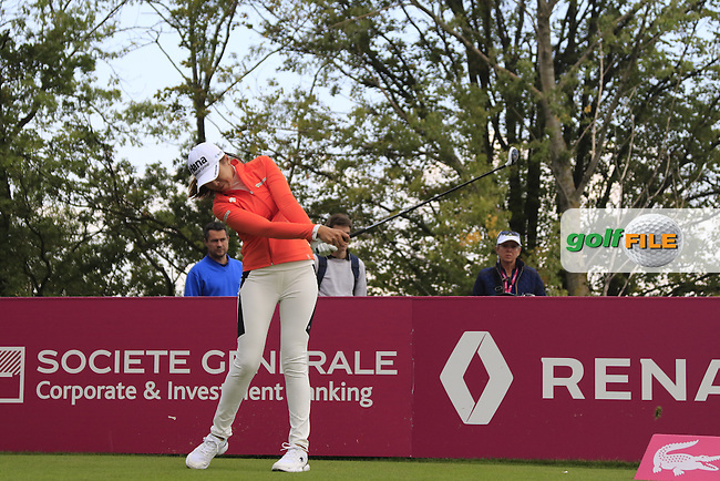 Mi Jung Hur (KOR) tees off the par3 5th hole during Friday's Round 2 of the LPGA 2015 Evian Championship, held at the Evian Resort Golf Club, Evian les Bains, France. 11th September 2015.<br /> Picture Eoin Clarke | Golffile