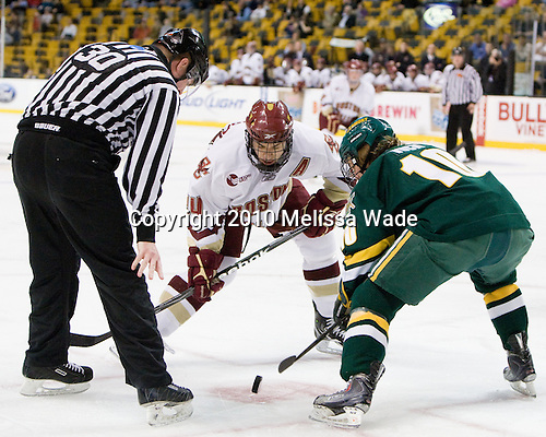 Matt Lombardi (BC - 24), Colin Vock (Vermont - 10) - The Boston College Eagles defeated the University of Vermont Catamounts 3-0 on Friday, March 19, 2010, in their Hockey East championship semi-final game at TD Garden in Boston, Massachusetts.