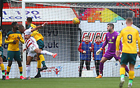 2nd February 2020; New Douglas Park, Hamilton, South Lanarkshire, Scotland; Scottish Premiership, Hamilton Academical versus Celtic; Marios Ogkmpoe of Hamilton Academical scores with a powerful header to put Hamilton Academical into a 1-0 lead in the 26th minute