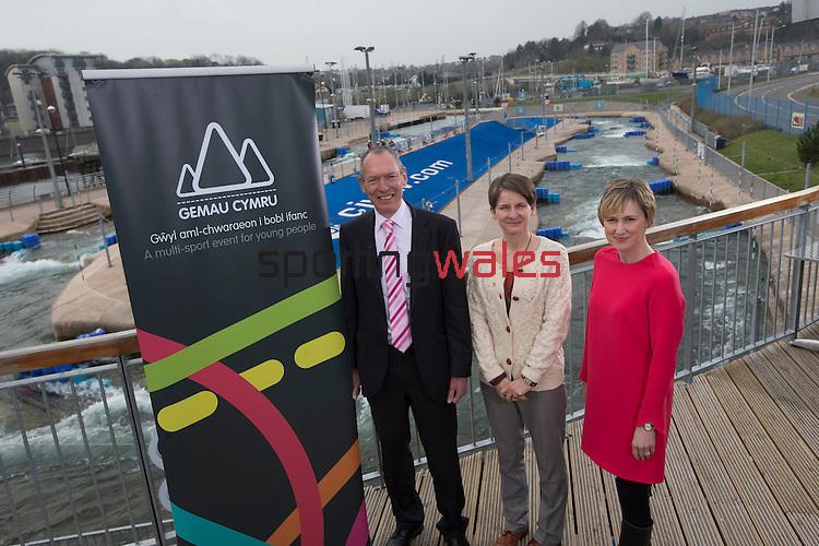 Gemau Cymru Launch 2014<br /> <br /> L-R John Griffiths AM Minister for Sport & Culture. Laura McAllister, Sport Wales &  Efa Gruffudd Jones, Urdd.  <br /> <br /> 31.03.14<br /> <br /> ©Steve Pope-SPORTINGWALES