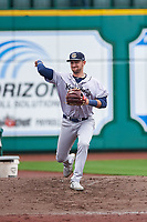 Kane County Cougars Zachery Almond (9) warms up in the bullpen during a Midwest League game against the Fort Wayne TinCaps at Parkview Field on May 1, 2019 in Fort Wayne, Indiana. Fort Wayne defeated Kane County 10-4. (Zachary Lucy/Four Seam Images)