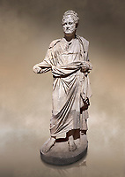 Roman statue of Emperor Priest. Marble. Perge. 2nd century AD. Inv no . Antalya Archaeology Museum; Turkey. Against a warm art background.