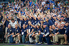 September 17, 2016; The 1966 national championship football team is honored at Notre Dame Stadium before the game against Michigan State. (Photo by Matt Cashore)