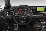Car pictures of steering wheel view of a 2015 Audi RS7  quattro tiptronic Prestige 5 Door Hatchback