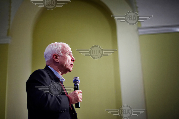 John McCain, Republican candidate for President, makes a speech during the New Hampshire primary campaign.