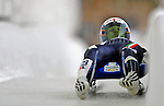 7 February 2009: David Mair slides for Italy in the Men's Competition at the 41st FIL Luge World Championships, in Lake Placid, New York, USA. .  .Mandatory Photo Credit: Ed Wolfstein Photo