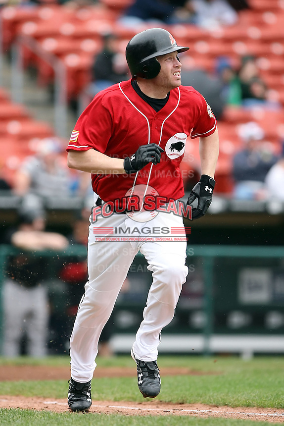 August 29 2008:  Jordan Brown of the Buffalo Bisons, Class-AAA affiliate of the Cleveland Indians, during a game at Dunn Tire Park in Buffalo, NY.  Photo by:  Mike Janes/Four Seam Images