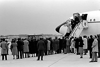 ANDREWS AIR FORCE BASE, MARYLAND (MD) UNITED STATES OF AMERICA (USA) - 27 Jan 1981 - <br /> Recently freed Americans held hostage by Iran disembark Freedom One, an Air Force VC-137 Stratoliner aircraft, upon their arrival at the base.<br /> <br /> DoD photo by: PH2 DON KORALEWSKI Date Shot: 27 Jan 1981