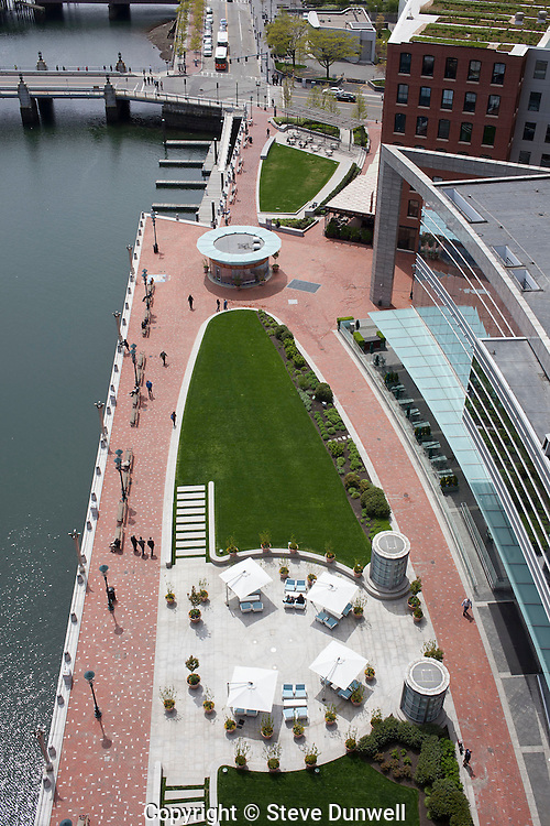 aerial view of landscaping at Intercontinental Hotel, Boston, MA Fort Point Channel