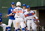 WATERBURY, CT-0712917JS20-- Wolcott's Rob Johnston  (30) is congratulated by teammates after coming in to score a run during their Mickey Mantle World Series game against Toronto Saturday at Municipal Stadium in Waterbury. <br /> Jim Shannon Republican-American