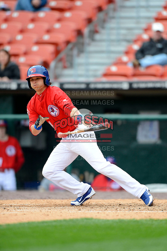 Buffalo Bisons third baseman Lance Zawadzki #4 during the second game of a doubleheader against the Pawtucket Red Sox on April 25, 2013 at Coca-Cola Field in Buffalo, New York.  Buffalo defeated Pawtucket 4-0.  (Mike Janes/Four Seam Images)