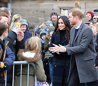 Prince Harry and Ms. Meghan Markle arrive at the Esplanade in front of the Edinburgh Castle in Edinburgh, on February 13, 2018, on their first official joint visit to Scotland Photo: Albert Nieboer / Netherlands OUT / Point De Vue Out - NO WIRE SERVICE - Photo: Albert Nieboer/RoyalPress/dpa /MediaPunch ***FOR USA ONLY***