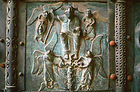 Verona:  Basilica San Zeno--Bronze doors, XI, XII centuries.  Photo '83.