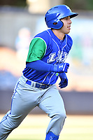 Lexington Legends Brhet Bewley (1) runs to first base during a game against the Asheville Tourists at McCormick Field on July 1, 2019 in Asheville, North Carolina. The Tourists defeated the Legends 9-8. (Tony Farlow/Four Seam Images)