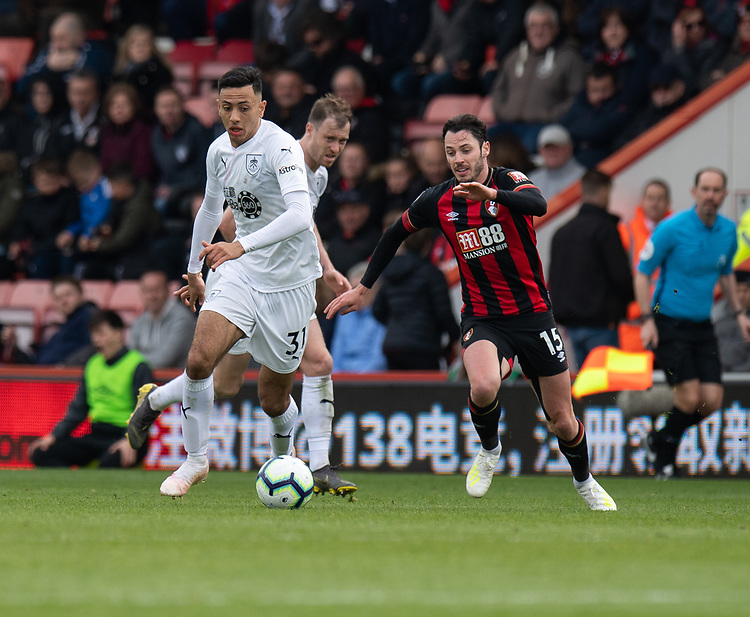 Burnley's Dwight McNeil (left) under pressure from Bournemouth's Adam Smith (right) <br /> <br /> Photographer David Horton/CameraSport<br /> <br /> The Premier League - Bournemouth v Burnley - Saturday 6th April 2019 - Vitality Stadium - Bournemouth<br /> <br /> World Copyright © 2019 CameraSport. All rights reserved. 43 Linden Ave. Countesthorpe. Leicester. England. LE8 5PG - Tel: +44 (0) 116 277 4147 - admin@camerasport.com - www.camerasport.com