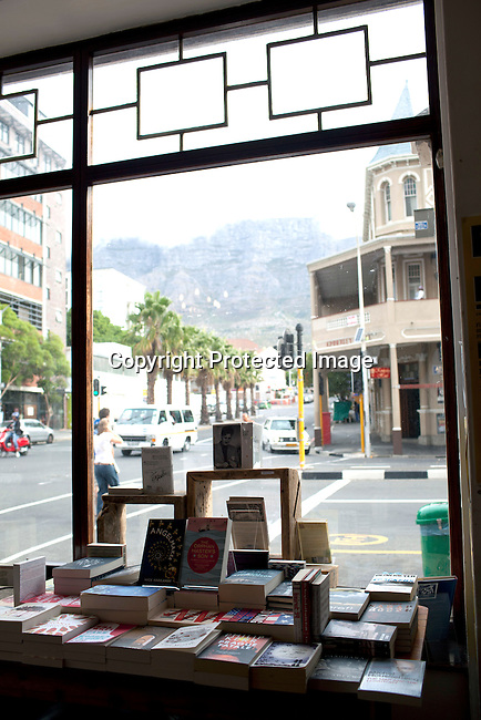 CAPE TOWN, SOUTH AFRICA - MARCH 22: A view of Table Mountain from the Book Lounge on March 22, 2012 in Cape Town, South Africa (Photo by Per-Anders Pettersson For Le Monde)