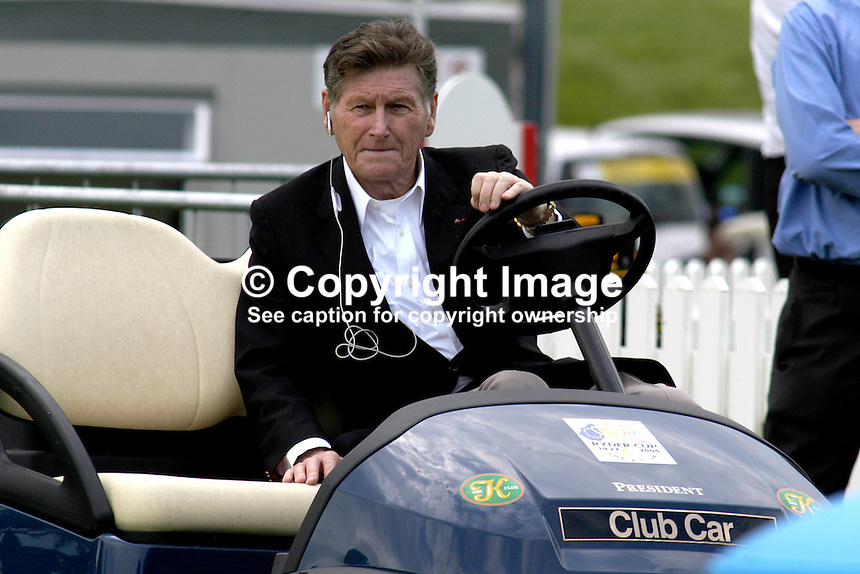 Dr Michael Smurfit, Rep of Ireland businessman and K Club president, tours the club in his presidential golf buggy. Ref: 200509286794. This image was taken at the K Club, Co Kildare, Ireland, during the Smurfit European Open Golf Championship practice and Pro-Am days. ..Copyright Image from Victor Patterson, 54 Dorchester Park, Belfast, UK, BT9 6RJ..Tel: +44 28 9066 1296.Mob: +44 7802 353836.Voicemail +44 20 8816 7153.Skype: victorpattersonbelfast.Email: victorpatterson@mac.com.Email: victorpatterson@ireland.com (back-up)..IMPORTANT: If you wish to use this image or any other of my images please go to www.victorpatterson.com and click on the Terms & Conditions. Then contact me by email or phone with the reference number(s) of the image(s) concerned.