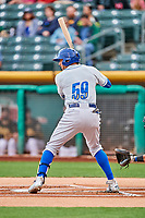 Paulo Orlando (59) of the Omaha Storm Chasers bats against the Salt Lake Bees in Pacific Coast League action at Smith's Ballpark on May 8, 2017 in Salt Lake City, Utah. Salt Lake defeated Omaha 5-3. (Stephen Smith/Four Seam Images)