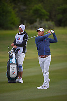 Si Woo Kim (KOR) watches his approach shot on 14 during Round 2 of the Valero Texas Open, AT&T Oaks Course, TPC San Antonio, San Antonio, Texas, USA. 4/20/2018.<br /> Picture: Golffile | Ken Murray<br /> <br /> <br /> All photo usage must carry mandatory copyright credit (© Golffile | Ken Murray)