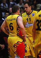 Pero Cameron talks to Ray Cameron during game two of the NBL Final basketball match between the Wellington Saints and Waikato Pistons at TSB Bank Arena, Wellington, New Zealand on Friday 20 June 2008. Photo: Dave Lintott / lintottphoto.co.nz