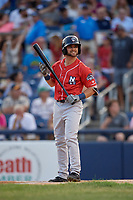 New Hampshire Fisher Cats Vinny Capra (1) bats during an Eastern League game against the Trenton Thunder on August 20, 2019 at Arm & Hammer Park in Trenton, New Jersey.  New Hampshire defeated Trenton 7-2.  (Mike Janes/Four Seam Images)