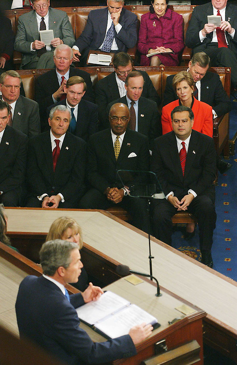 1/28/03.STATE OF THE UNION ADDRESS--Senators and Cabinet members listen to President George W. Bush's State of the Union address at the U.S. Capitol. Front row, left to right: Homeland Security Director Tom Ridge (partial), Secretary of Veterans Affairs Anthony Principi, Secretary of Education Rod Paige, Energy Secretary Spencer Abraham. Second row: John Walters, of the Office of National Drug Control Policy, United States Trade Representative Ambassador Robert B. Zoellick, Office of Management and Budget Director Mitchell E. Daniels Jr., Environmental Protection Agency Administrator Christie Todd Whitman. Third row: Sen. Saxby Chambliss, R-Ga., Sen. Pete Domenici, R-N.M., Sen. Craig Thomas, R-Wyo. Fourth row: Sen. Conrad Burns, R-Mont., Sen. John Ensign, R-Nev., Sen. Olympia Snowe, R-Maine, Sen. Jim Bunning, R-Ky..CONGRESSIONAL QUARTERLY PHOTO BY SCOTT J. FERRELL