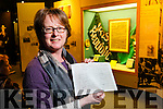 Helen O'Carroll curator of Kerry County Museum with a drawing by Rodger Casement.
