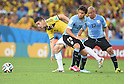 (L-R) James Rodriguez (COL), Alvaro Gonzalez, Egidio Arevalo (URU),<br /> JUNE 28, 2014 - Football / Soccer :<br /> FIFA World Cup Brazil 2014 Round of 16 match between Colombia 2-0 Uruguay at Estadio do Maracana in Rio De Janeiro, Brazil. (Photo by SONG Seak-In/AFLO)