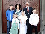 Mary McCamley from St Mary's National school who received first holy communion at St Mary's church pictured with parents Christopher and Caroline, brothers Michael and Patrick and sister Teresa. Photo:Colin Bell/pressphotos.ie
