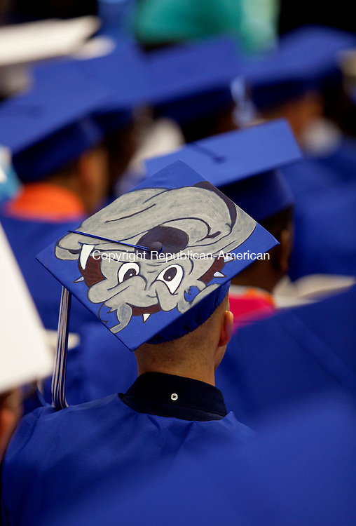 WATERBURY, CT-17 June 2014-061714BF19- The decorated cap of a Crosby High School graduate during graduation Tuesday night. Bob Falcetti Republican-American